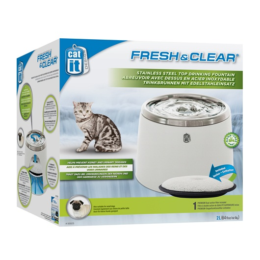 Catit Fresh & Clear Stainless Steel Top Drinking Fountain 2L