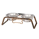 Loving Pets Rustic Bone Raised Double Diner