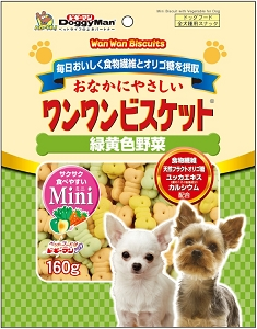 DoggyMan Bowwow Biscuit Mini Green & Yellow Vegetable 160g