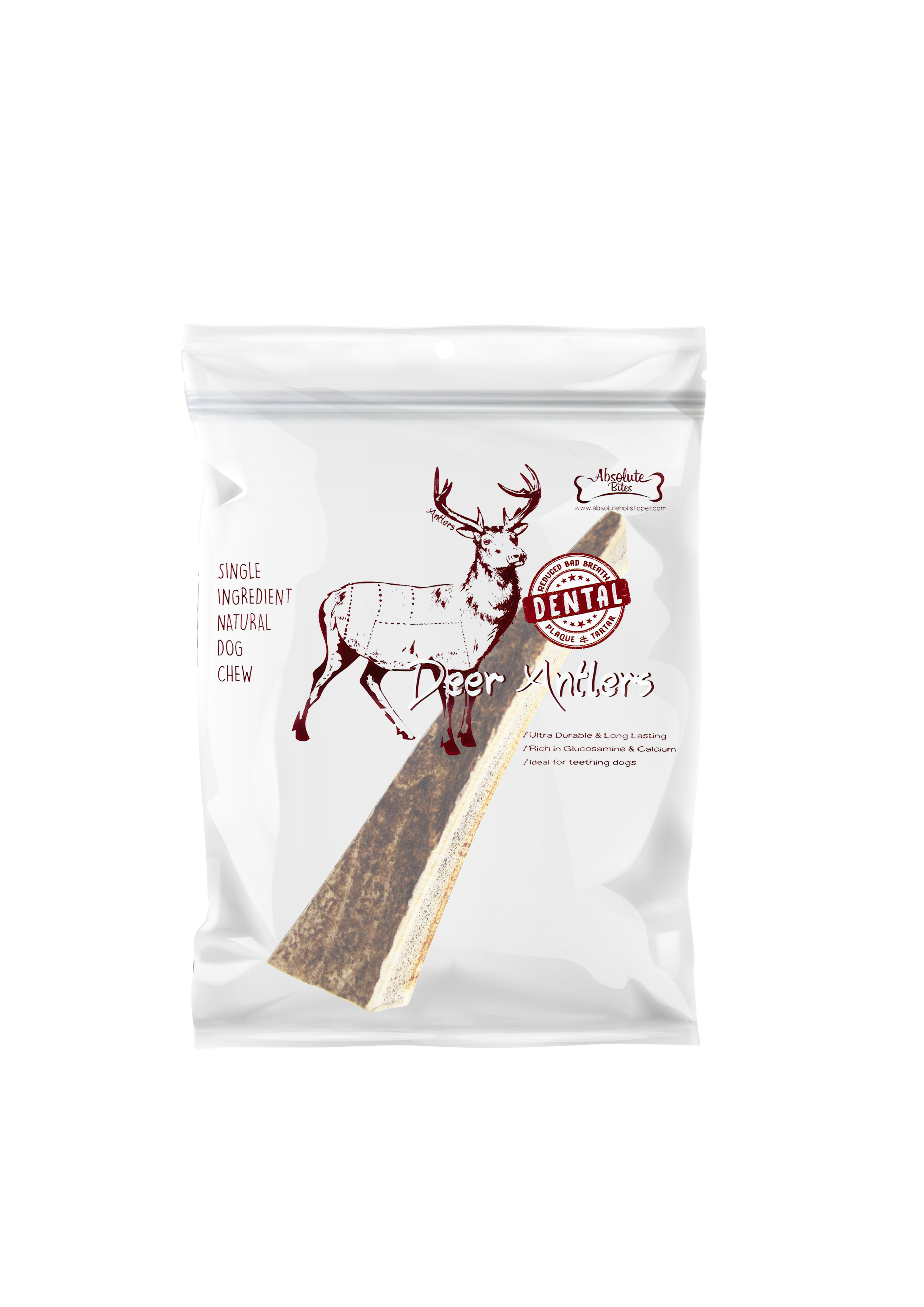 Absolute Bites Half Deer Antlers Dental Chew Mini