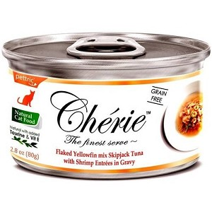 Cherie Canned Flaked Yellowfin Mix Skipjack Tuna With Shrimp Entrées In Gravy Cat Food