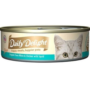 Daily Delight Canned Pure Skipjack Tuna White & Chicken with Squid Cat Food
