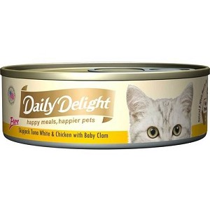 Daily Delight Canned Pure Skipjack Tuna White & Chicken with Baby Clam Cat Food