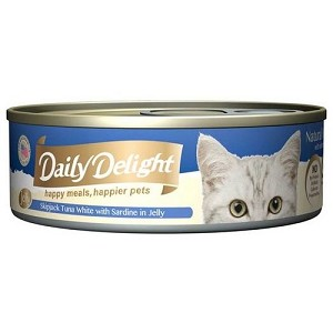 Daily Delight Canned Skipjack Tuna White with Sardine in Jelly Cat Food