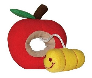 DOGIT Luvz Fruit & Worm Red Apple Toy