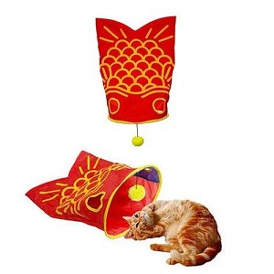 Marukan Briskly Sound Goldfish Tunnel Cat Toy
