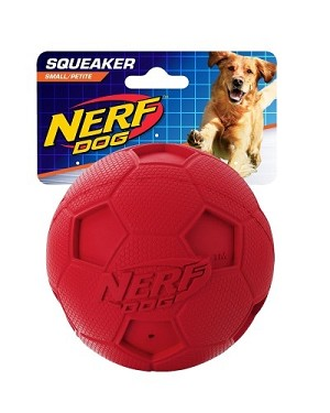 Nerf Dog Squeaker Soccer Ball Toy S - Blue/Red