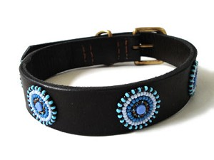 Kenyan Beaded Leather Pet Collar - Circles Blue Brown