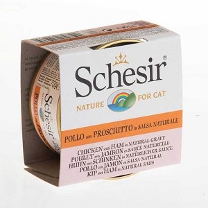Schesir Canned Chicken with Ham in Natural Gravy Cat Food