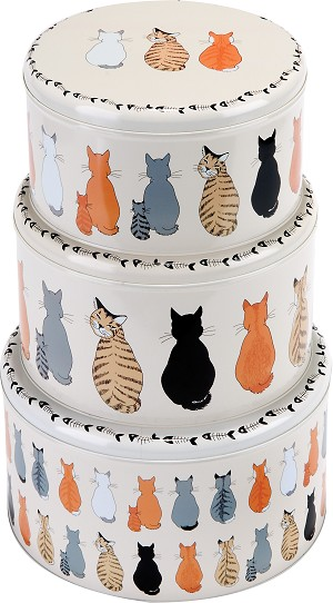 Animal Merchandise Cats in Waiting Set of 3 Cake Tins