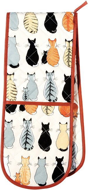 Animal Merchandise Cats in waiting Double Oven Glove