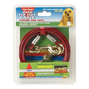 Four Paws Tie-Out Cable Medium Red 20ft