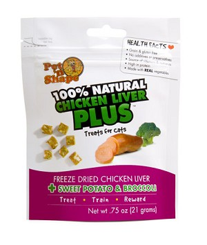 Pet N Shape Freeze Dried Chicken Liver PLus Sweet Potato & Broccoli for Cats